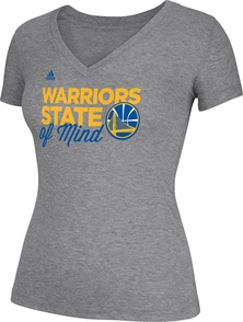 Warriors State of Mind Womens V-Neck Triblend Tee-Grey - Click to enlarge