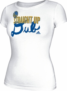 Golden State Warriors adidas Women's Straight Up Dubb Tee-White - Click to enlarge
