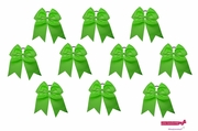 """7"""" Big Hair Bows With Ponytail Holder Green 10 Pack"""