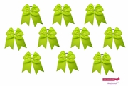"""7"""" Big Hair Bows With Ponytail Holder Lime 10 Pack"""