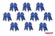 """7"""" Big Hair Bows With Ponytail Holder Navy 10 Pack"""