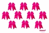 "7"" Big Hair Bows With Ponytail Holder Pink 10 Pack"