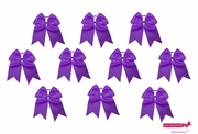 """7"""" Big Hair Bows With Ponytail Holder Purple 10 Pack"""