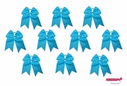 "7"" Big Hair Bows With Ponytail Holder Teal 10 Pack"