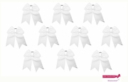 "7"" Big Hair Bows With Ponytail Holder White 10 Pack"