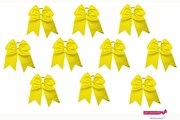 """7"""" Big Hair Bows With Ponytail Holder Yellow 10 Pack"""