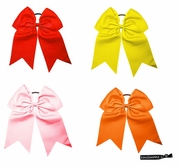 """7"""" Hair Bow With Ponytail Holder 4 Pack Warm"""