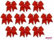 """7"""" Large Hair Bow With Ponytail Holder Red 10 Pack"""