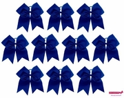"""7"""" Large Hair Bow With Ponytail Holder Blue 10 Pack"""