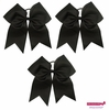 """7"""" Large Hair Bow With Ponytail Holder 3 Pack Black"""