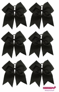 """7"""" Large Hair Bow With Ponytail Holder 6 Pack Black"""