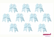 """7"""" Large Hair Bow With Ponytail Holder Light Blue 10 Pack"""