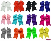 """7"""" Big Hair Bows with Ponytail Holder 12 pack"""