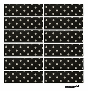 Cotton Headbands 12 Pack Black and White Dot