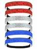 Glitter Headband 6 Pack Red Silver Blue