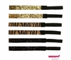 Glitter Headbands Gold and Black Zebra 6 Pack