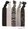 Hair Ties 5 Pack Black and White Tribal Aztec