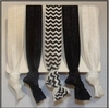 Hair Ties 5 Pack Black and White Zig Zag