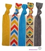Hair Ties 5 Pack Bright Chevron Aztec