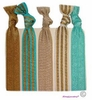 Hair Ties 5 Pack Golden Seafoam Stripe