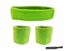 Headband and Wristbands 3 Pack Neon Green