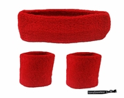 Headband and Wristbands 3 Pack Red