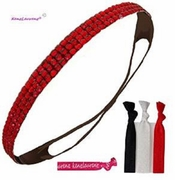 Rhinestone Headband Red With Hair Ties
