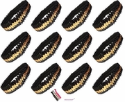 Sequin Headbands 12 Pack Black and Gold
