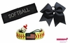 "Softball Set:  ""Softball"" Cotton Headband, Cheer Bow, Flag Bracelet, and Hair Tie"