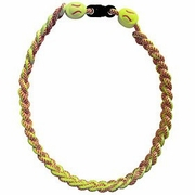 Titanium Ionic Braided Sports Power Bracelet Yellow Softball BK