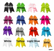 """7"""" Big Hair Bows With Ponytail Holder 24 Pack U Pick Colors"""