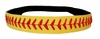 Yellow Leather Softball Seam Stitch Headband