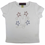 Cowgirl Boot Rhinestone T-shirt with Patriotic Stars