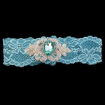 Custom Lace Bridal Garter with Applique and Crystal Stone