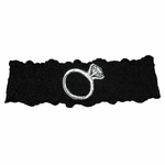 Custom Lace Bridal Garter with Engagement Ring Applique