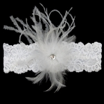 Custom Lace Bridal Garter with Feather Plume and Rhinestone Center