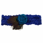 Custom Lace Bridal Garter with Hand-Rolled Rose and Peacock Feathers