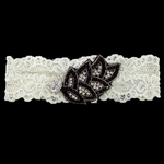Custom Lace Bridal Garter with Leaf Applique and Crystal Brooch