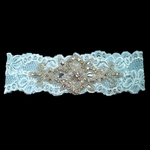 Custom Lace Bridal Garter with Rhinestone Applique Flourish
