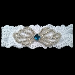 Custom Lace Bridal Garter with Rhinestone Bow Applique