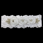 Custom Lace Bridal Garter with Three Roses and Crystal Buttons