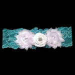Custom Lace Garter with Hand-Rolled Roses and Shabby Roses