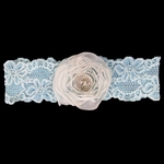 Custom Lace Garter with Rose and Dazzling Crystal Button Center