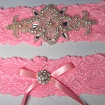 Custom Rhinestone Applique and Pink Lace Garter