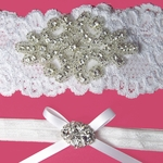 Custom Rhinestone Applique and White Lace Garter