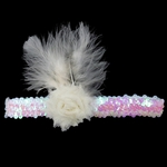 Custom Sequin Bridal Garter with Shabby Rose  and Ostrich Feathers