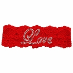 Red Lace Rhinestone Love Design Bridal Garter