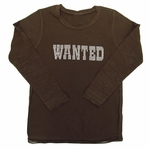 """Wanted"" Rhinestone Long-Sleeved Shirt in Chocolate Brown"