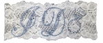 White Lace Bridal Garter with I Do in Blue Rhinestones