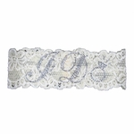 White Lace I Do Garter with Rhinestones